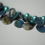 Blue Toner Mother Of Pearl Shell Necklace