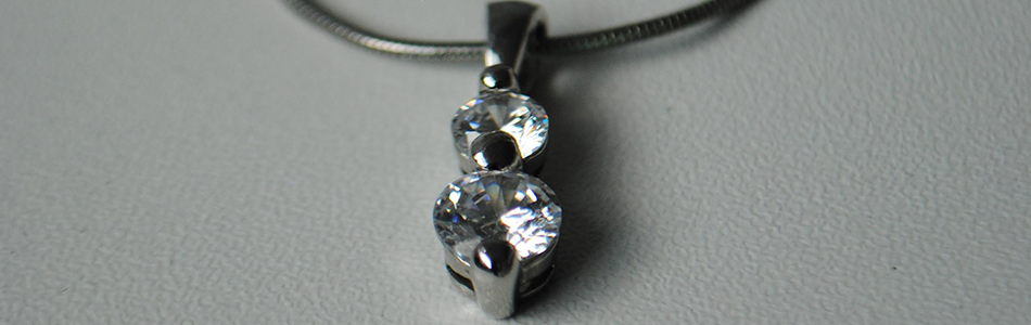 Stunning Double Diamond And Platinum Necklace